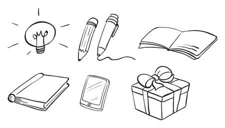 ballpen: Illustration of the different doodle designs on a white background Illustration