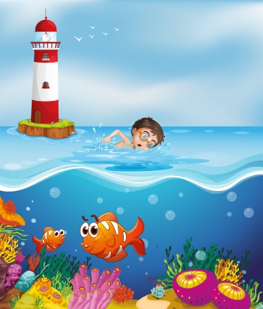 swim goggles: Illustration of a boy swimming at the beach with a lighthouse