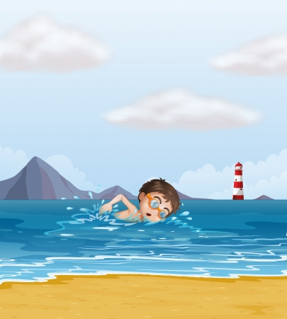 Illustration of a kid swimming at the beach with a lighthouse Stock Vector - 19389661