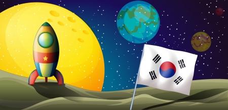 outerspace: Ilustraci�n de una nave espacial cerca de la bandera de Corea en el espacio exterior