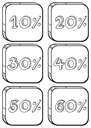 cheaper: Illustration of the doodle designs of price discounts on a white background