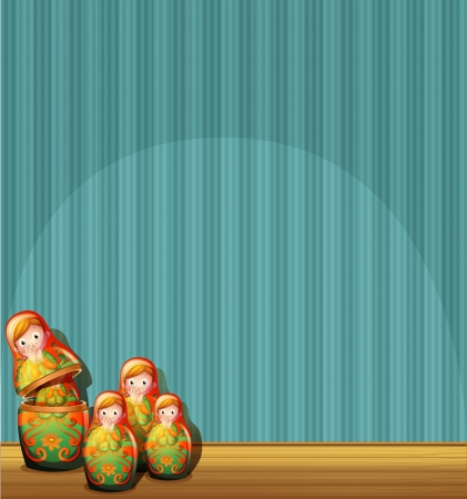 wooden doll: Illustration of a blue wall with four Russian dolls Illustration