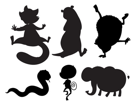 Illustration of the animals in black and gray colors on a white background Vector