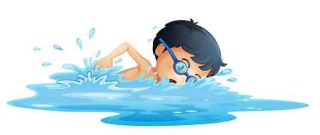 young boy in pool: Illustration of a kid swimming on a white background
