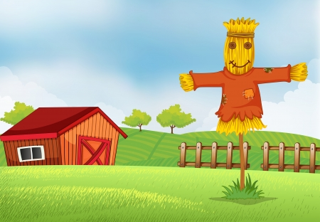 scarecrow: Illustration of a farm with a barn and a scarecrow