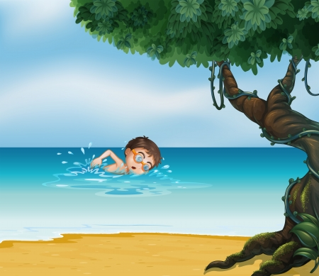 Illustration of a boy swimming at the beach with an old tree Vector