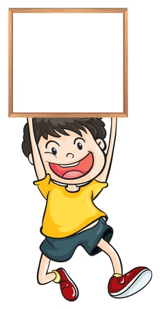 Illustration of a boy holding an empty framed banner on a white background Stock Vector - 19389452