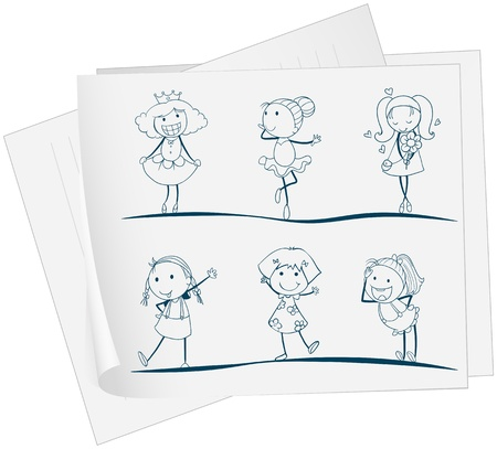 Illustration of a paper with an image of six girls in different positions on a white background  Vector