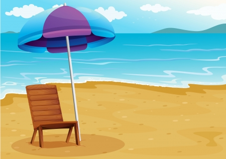 wood chair: Illustration of a beach with a relaxing wooden chair under an umbrella Illustration