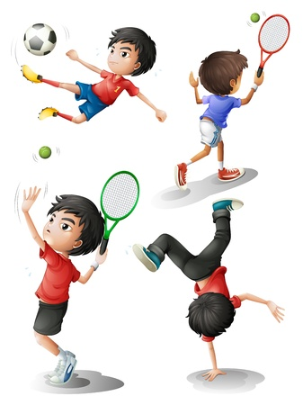 Illustration of the four boys playing different sports on a white background Stock Vector - 19390017