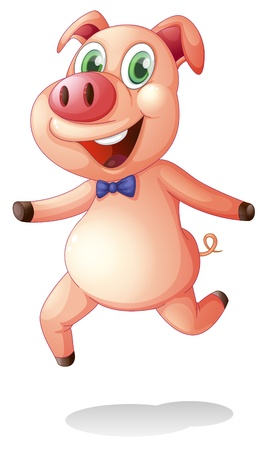 Illustration of a smiling fat pig on a white background Vector