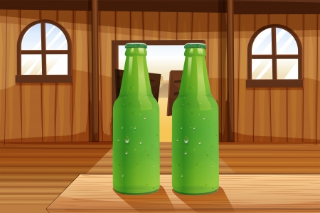 Illustration of the two green bottles above the table Vector