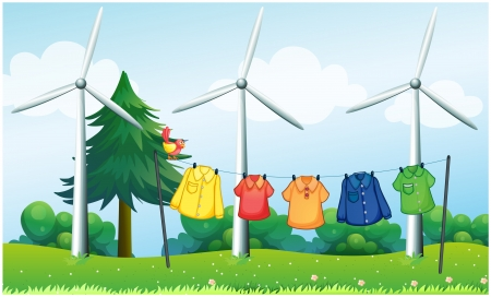 windy energy: Illustration of a hilltop with hanging clothes and windmills