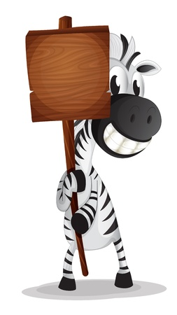 Illustration of a zebra holding an empty wooden signboard on a white background  Vector