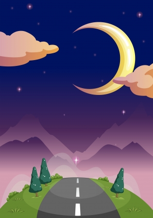 Illustration of a narrow road and the starry night Vector