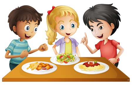 viewing angle: Illustration of the kids watching the table with foods on a white background Illustration