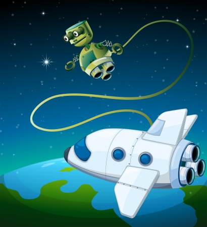 outerspace: Illustration of an aircraft and a robot at the outerspace