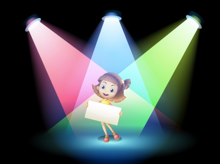 centerstage: Illustration of a smiling girl holding an empty board