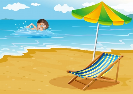 foldable: Illustration of a boy swimming at the beach with an umbrella and a bed
