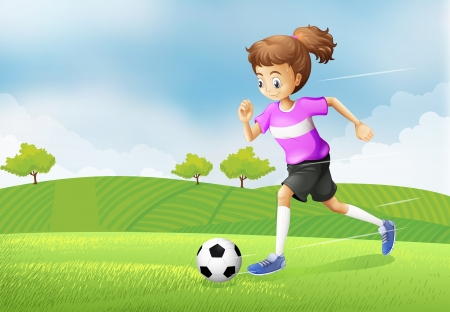 outdoor event: Illustration of a girl playing soccer at the field