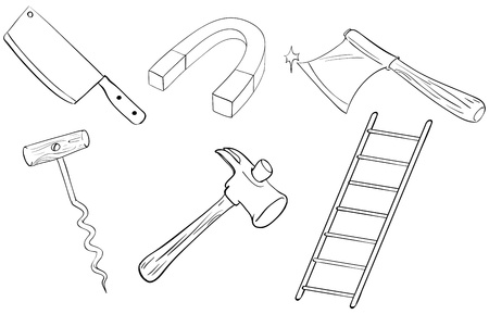 black and white image: Illustration of the six different kinds of tools on a white background