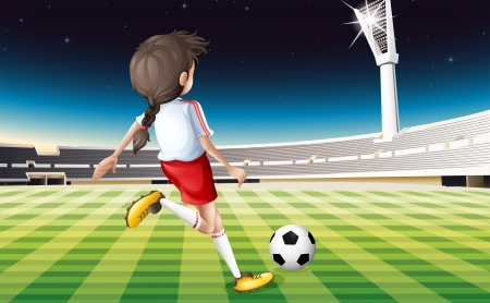 outdoor seating: Illustration of a girl playing soccer at the field