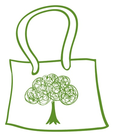 recycle plastic: Illustration of a green recycled bag on a white background Illustration