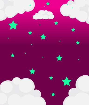 pinkish: Illustration of a pink sky with green stars