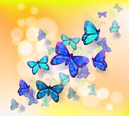 Illustration of a wallpaper design with butterflies Vector