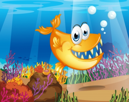 Illustration of an orange fish near the coral reefs Stock Vector - 19390173