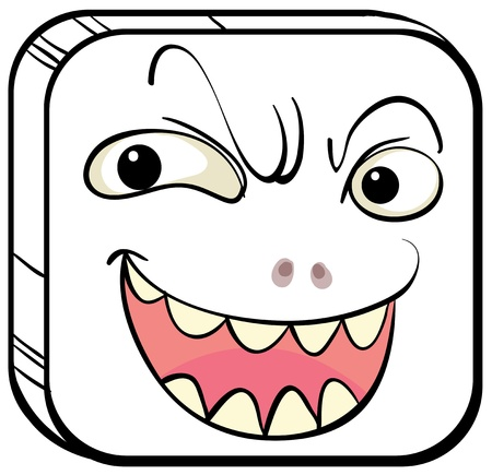 emote: Illustration of a smiling face in a square on a white background Illustration