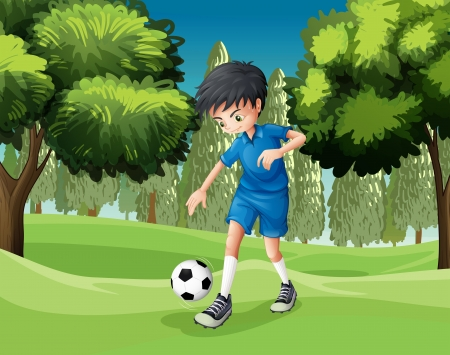 kicking ball: Illustration of a soccer player kicking the ball  Illustration