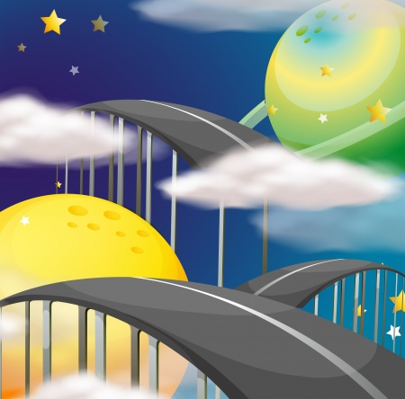 night road: Illustration of a road going to the sky