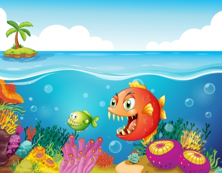 seaweeds: Illustration of a sea with colorful coral reefs and fishes