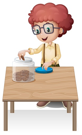 put: Illustration of a boy putting chips in the jar on a white background