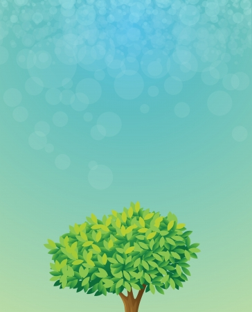 bush mesh: Illustration of a blue colored stationery with a tree Illustration
