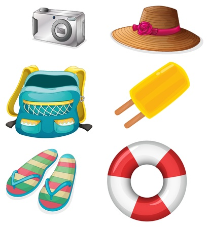 manmade: Illustration of the different things ideal for summer outings on a white background