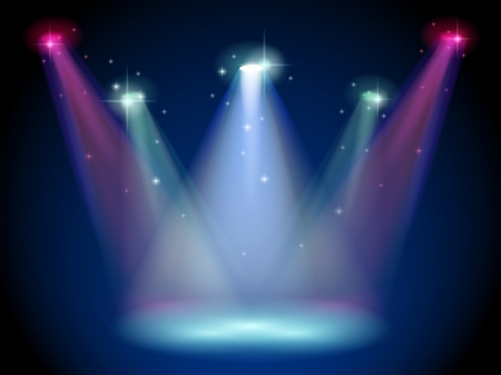 centerstage: Illustration of a stage with colorful spotlights