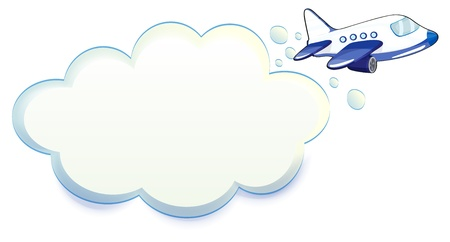 jetplane: Illustration of an airplane passing through the cloud on a white background Illustration