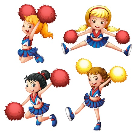 cheer leader: Ilustraci�n de los cuatro cheerdancers con sus pompones sobre un fondo blanco