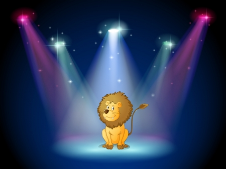 centerstage: Illustration of a lion sitting with spotlights