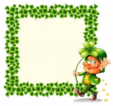 Illustration of a man holding a clover leaf beside a frame made of leaves on a white background