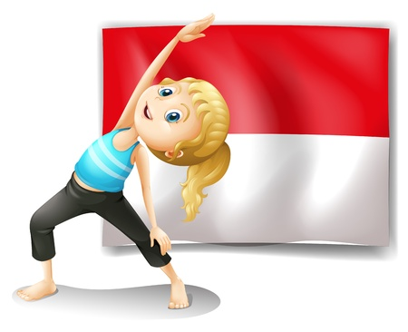 Illustration of a girl doing her exercise in front of the Indonesian flag on a white background Vector