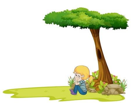 arbol de problemas: Ilustración de una muchacha que se sientan bajo el gran árbol sobre un fondo blanco