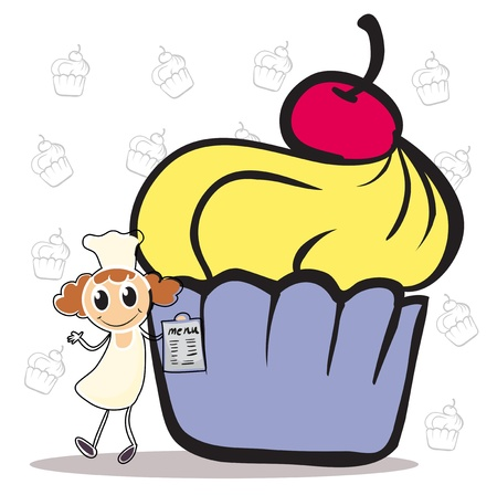 Illustration of a chef holding a menu beside a giant cupcake on a white background  Stock Vector - 19389406