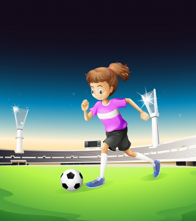evening ball: Illustration of a girl playing football at the field