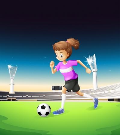 futbol soccer dibujos: Ilustraci�n de una ni�a jugando al f�tbol en el campo Vectores
