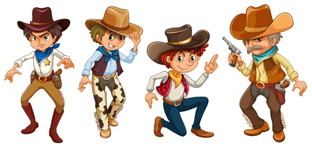 Illustration of the four cowboys on a white background Stock Vector - 19389596