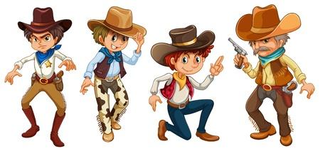 vaquero: Ilustraci�n de los cuatro vaqueros sobre un fondo blanco