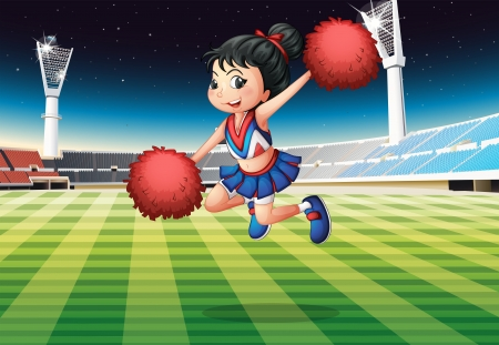 outdoor seating: Illustration of a cheerleader performing at the stadium